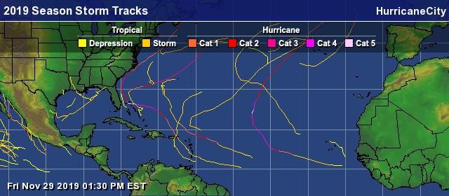 2019 Atlantic hurricane season storm tracks