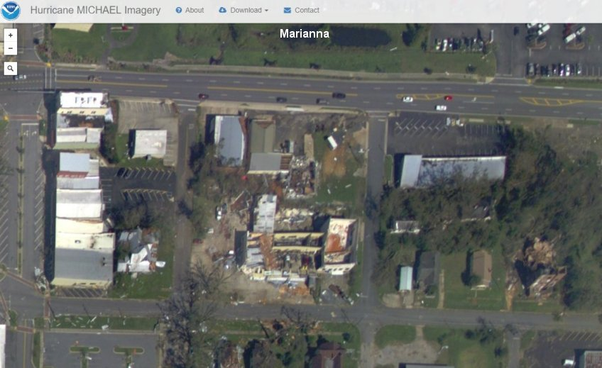 Damage in Marianna from Hurricane Michael