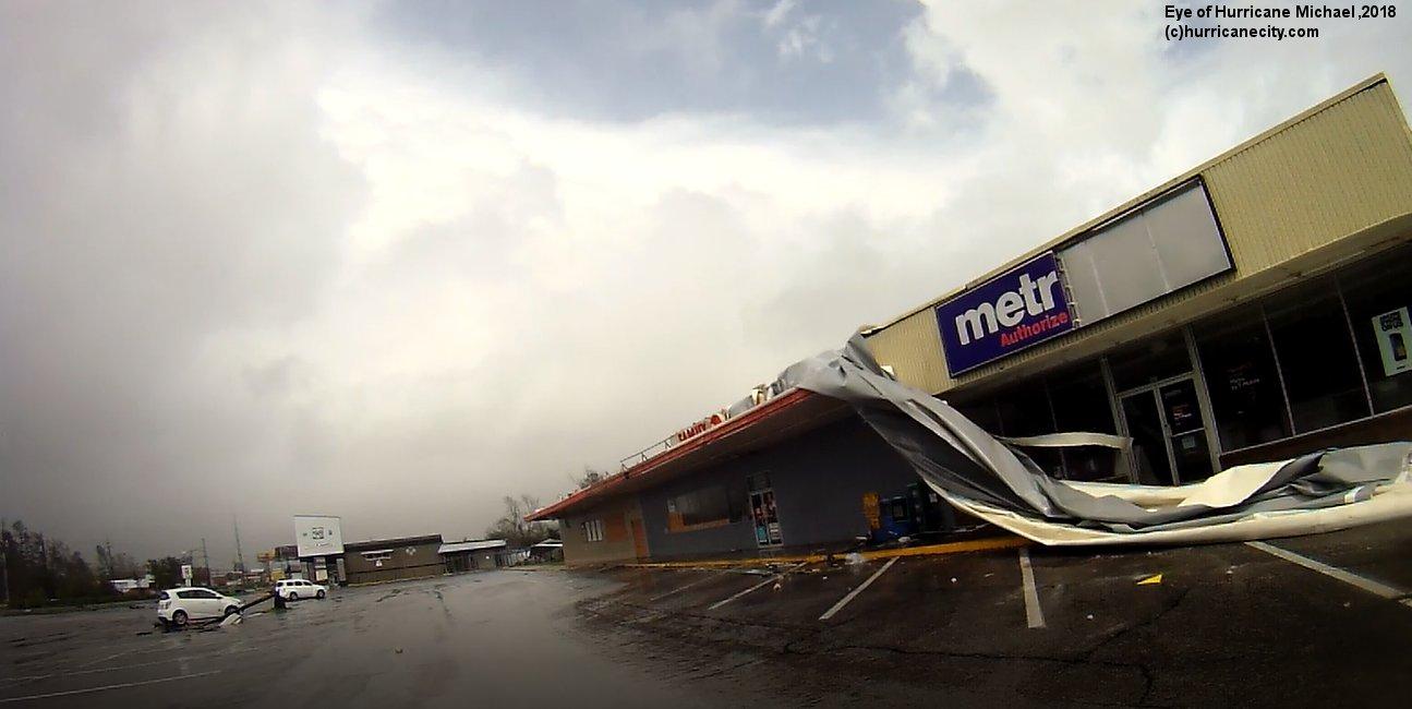photo of hurricane michael eye